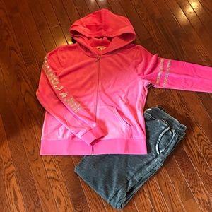 Juicy couturepink hoodie long sleeved sweatshirt